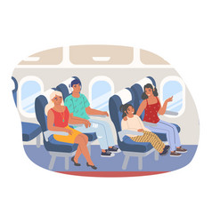 passengers sitting inside aircraft flat vector image