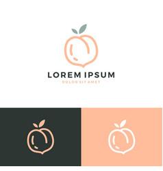 Peach logo fruit icon vector