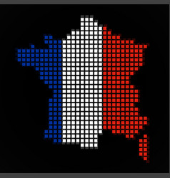 Pixel map of france with the flag inside vector