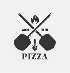 pizza logo with oven shovel wood fired pizza vector image