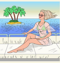 pop art beautiful woman relaxing on yacht vector image