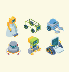 robots assistants isometric set futuristic vector image
