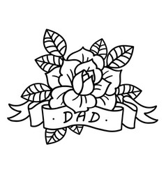 rose tattoo with ribbon and word dad vector image