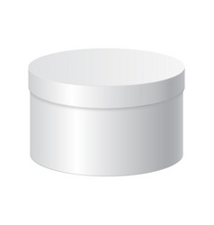 Round gift box white blank package vector