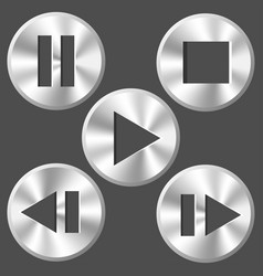 Round metallic player icons vector