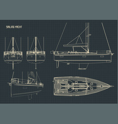 sailing yacht blueprints vector image