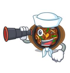 Sailor with binocular bulgogi in a cartoon vector