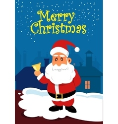 Santa Claus with golden bell on the roof vector image