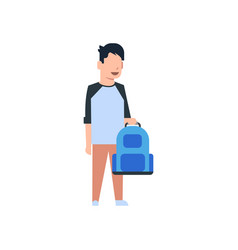 school boy holding backpack schoolboy pupil kid vector image