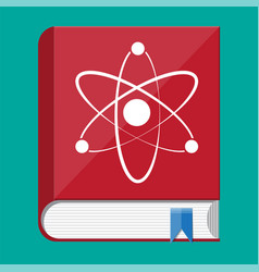 science book and atom logo vector image