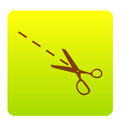 scissors sign brown icon at vector image