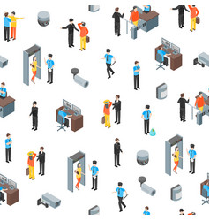 security system people and equipment 3d seamless vector image