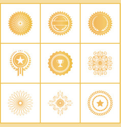 set exclusive golden stamps certificate vector image