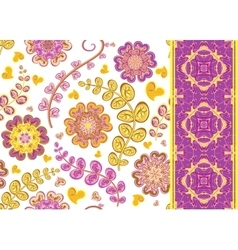 Set of Floral seamless background and border vector image