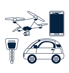 set of gps tracking technology vector image