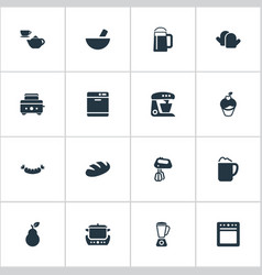 Set of simple cuisine icons elements roasted bread vector