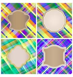 Set of vintage labels on the striped background vector image