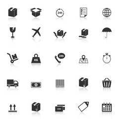 Shipping icons with reflect on white background vector image