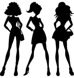 Silhouette fashion girls top models vector image vector image