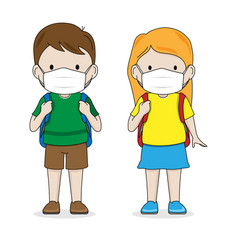 Students with backpack and mask vector