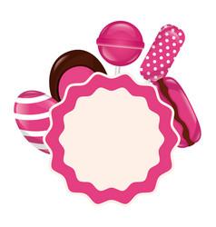 sweet candies label lollipop macaron gum vector image