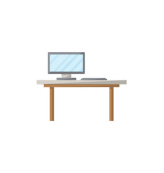 table with monitor isolated icon in flat style vector image