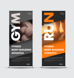Template roll-up banner in geometric modern style vector