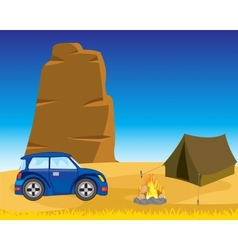 Tent with car in desert vector