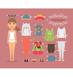 Tourist Girl Paper Doll with Clothes and Shoes vector