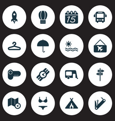 trip icons set with pointers map with time vector image