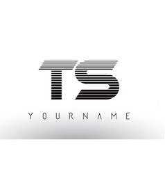 ts black and white horizontal stripes letter logo vector image