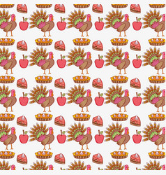 turkey animal and cakes with apple food background vector image