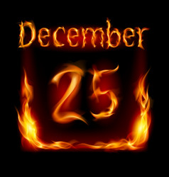 Twenty-fifth december in calendar of fire icon on vector