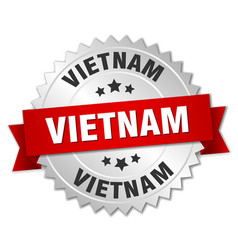 Vietnam round silver badge with red ribbon vector