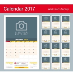 Wall Monthly Calendar for 2017 Year Design vector