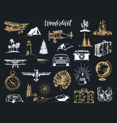 wanderlust hand lettering in travel icons vector image