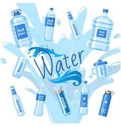 Water bottles made plastic banner vector