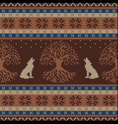 Winter knitted woolen seamless pattern with tree vector
