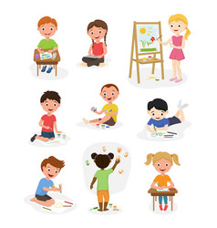 artist cute kids paint art child creative vector image vector image