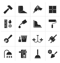 Black construction and building equipment icons vector