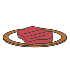 dish with cut beef meat icon vector image