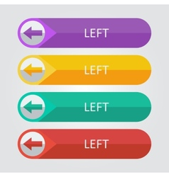 flat buttons left arrow vector image vector image