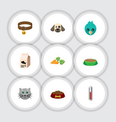 Flat icon pets set of dog food rabbit meal vector