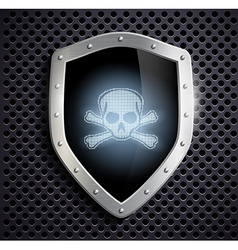 metal shield with a skull and crossbones vector image vector image