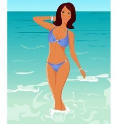 suntanned girl vector image vector image