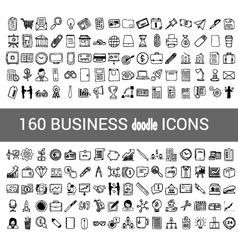 160 business doodle icon for your infographic vector image vector image