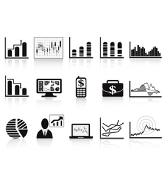 black business charts icon vector image vector image