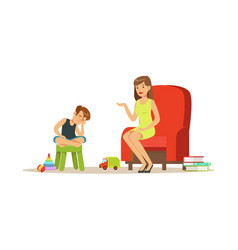 Boy talking to child psychologist about problems vector