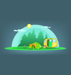 camping horizontal banner objects cartoon style vector image