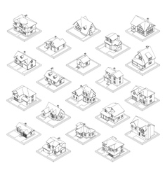 drawing of private house set vector image vector image